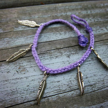 Braided Pastel Purple Bamboo Cord Feather Charm Bracelet Christmas in July