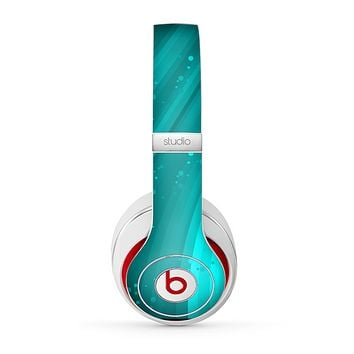 The Glowing Teal Abstract Waves Skin for the Beats by Dre Studio (2013+ Version) Headphones