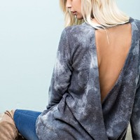 Brushed Tie Dye Open Back Top - Charcoal