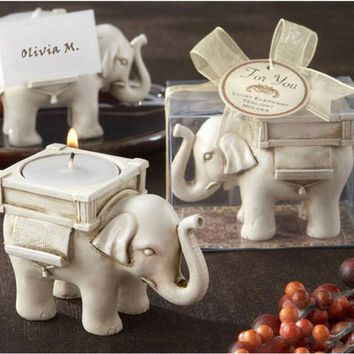 1PCS Fashionable Style Resin Ivory Lucky Elephant Tea Light Candle Holder Wedding Party Home Decoration Gift Durable Candlestick