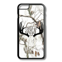 Black White Camo Antlers Monogram Iphone 6/6S Case Plus 5C 5/5S 4/4S Personalized Snow Deer Hunting Custom Cover