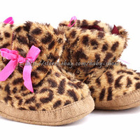 Infant Baby Girl Leopard Boots Crib Shoes Size 3-6 6-9 9-12 Months