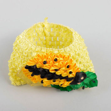 Handmade designer headband unusual yellow headband bright childrens accessory