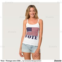 Vote - Vintage retro USA flag with a message Spaghetti Strap Tank Top