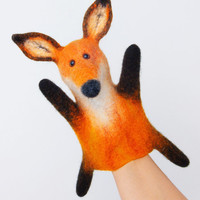 the fox hand puppet, wet felted, number 2