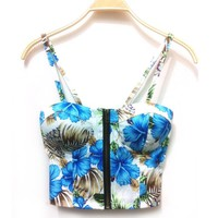 New Women Zipper Floral Padded Bustier Cropped Tops  Corsets