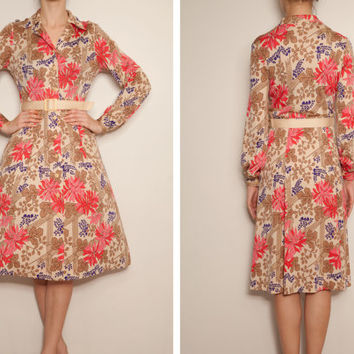 1980's japanese designer Hanae Mori floral shirtwaist vintage dress,Floral dress,Shirtwaist dress,Coat dress,Beige pink dress