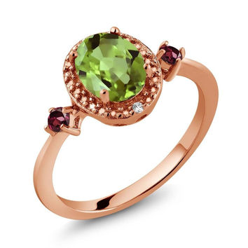 1.52 Ct Oval Green Peridot Red Rhodolite Garnet 18K Rose Gold Plated Silver Ring