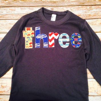 Cars Boys Birthday Shirt 3rd 3 three Birthday Shirt Triblend Birthday Tshirt trucks navy long sleeve toys red blue aqua royal vintage