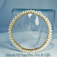 Gold White Soft Bangle Beaded Bracelet Handmade Fashion Accessory