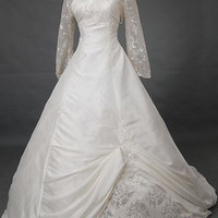 A-line Sweetheart Long-Sleeve Wrap Cathedral Taffeta Lace Wedding Dress With Applique Beading Free Shipping