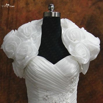 RSJ117 Real Custom Made Floral Organza Bridal Jacket