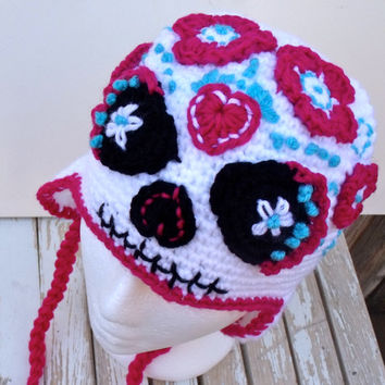 Sugar Skull, Halloween, Day of the Dead, Dia De Los Muertos, Earflap Hat, Women's Earflap Hat, Sugar Skull Costume, Beanie, OOAK