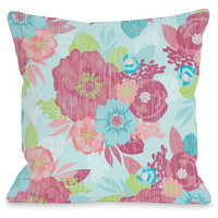 """Romantic Florals"" Outdoor Throw Pillow by Loni Harris, 16""x16"""