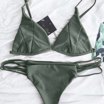 Olive Green Paneled Bikini Suits