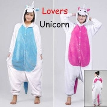 ca PEAPTM4 New Unicorn Unisex Lovers Flannel Hooded Pajamas Adults Cosplay Cartoon Cute Animal Onesuits  Sleepwear Suit Hoodies Unicorn [8403193095]
