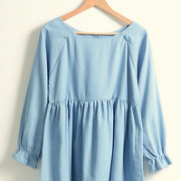 Blue Flounce Long Sleeve Pleated Mini Dress