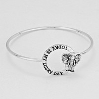 """Today Is My Lucky Day""  Elephant Silver Bracelet"