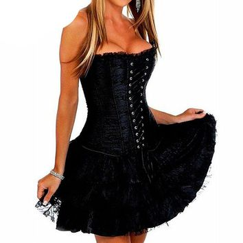 Sexy Corset Bustier Lace Evening Women Casual Dress Push Up Gothic Dress Zip Lzce up Back Black Red Green Vintage