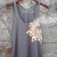 Cocoa and Pale Nude Lotus Racerback Tank Top hand printed by Blonde Peacock