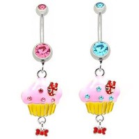 Pink Cupcake Belly Ring Red Dangle Yellow Navel Bow Cute Sexy CZ Gem Stone Aqua