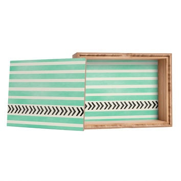 Allyson Johnson Mint Stripes And Arrows Storage Box