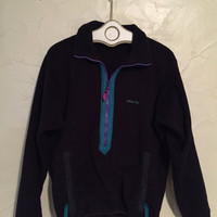 Black and Teal Patagonia Fleece Pullover