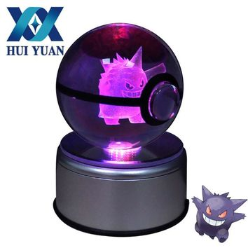 Gengar 8CM 3D Laser Go Crystal Ball Mew LED Night Light Magic Ball for Children Christmas Gifts by HUI YUAN