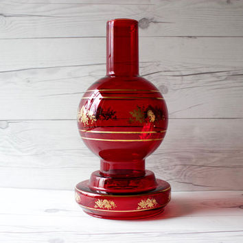 Vintage Red Glass Candle Lamp with Large Hurricane Chimney Shade