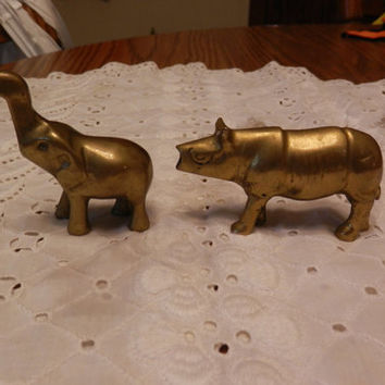 Pair Of Solid Brass Statues Figurines Paperweight Elephant Rhino Office Home Decor