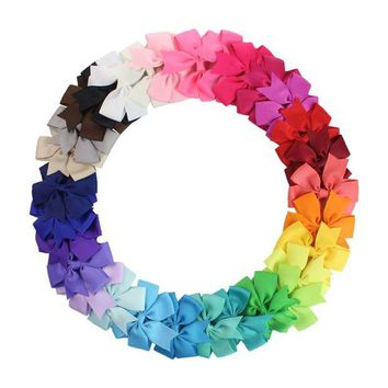 VONE059 3 inch 30Pcs/pack   Grosgrain Ribbon Boutique Girls Hair Bows For Teens   hair barrttes clip hair accessories