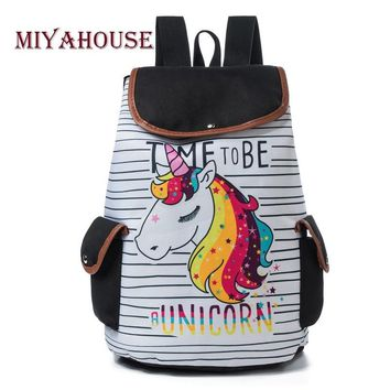 Miyahouse Colorful Unicorn Printed Casual Backpack Female Drawstring Style Canvas Travel Rucksack For Girls School Bag