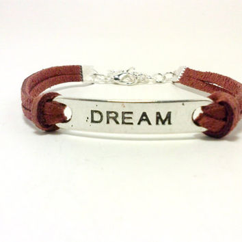 Brown Dream Bracelet, Dream Jewelry, Jewelry with Words, Fashion Bracelet, Friendship Bracelet, Charm Bracelet, Teen Gifts, Women's Jewelry