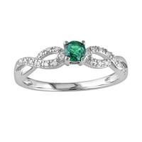Sterling Silver Lab-Created Emerald & Diamond Accent Infinity Ring (Green)