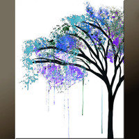Abstract Landscape Art Print  11x14 Matted Contemporary Wall Art by Destiny Womack -  dWo - The Weeping Tree