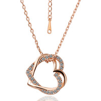 Lady's Brass Rose Gold Plated Intertwined Heart Pendant Necklace with Clear Swarovski Elements Stones (45cm + 5cm Extension)