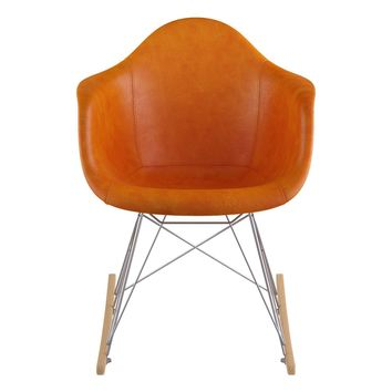 Mid Century Rocker Chair Burnt Orange