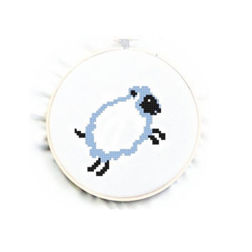 PDF instant download,Blue Sheep Cross Stitch Chart Pattern, No.102, Instructions
