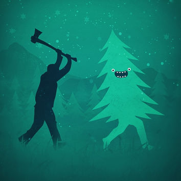'Funny Christmas Tree Hunted by lumberjack (Funny Humor)' by badbugs