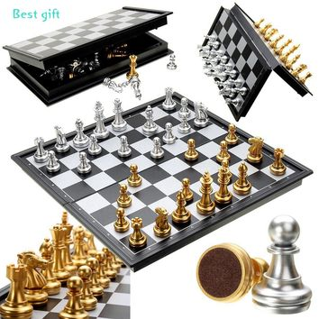 Checker board Magnet Chess Gold/White Color Folding Board Set Challenge Table Game Gift (2 Size)