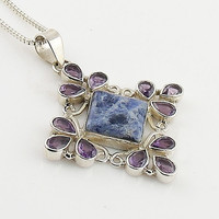 Amethyst & Sodalite Sterling Silver Snow Flake Pendant