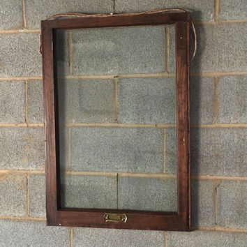 Vintage 1 Pane Window Frame - 24W x 33L, Brown, Rustic, Antique, Wood, Wedding, Engagement, Home, Photos, Picture Frame, Holiday, Decor