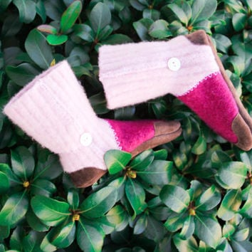Kids Merino Wool Slippers, Girl Boots, Children Mocassins, Eco friendly Leather Soles.  Size: Kids 8.5, 11.5, Cotton Candy