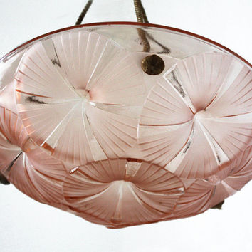 SIGNED DEGUE French Art Deco Light Fixture - pink molded glass Ceiling light - pink Chandelier relief pattern of Water lilies