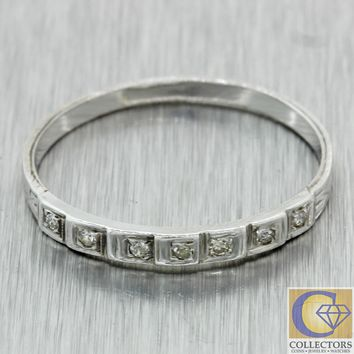 1930s Antique Art Deco Estate 18k White Gold .07ctw Diamond Wedding Band Ring