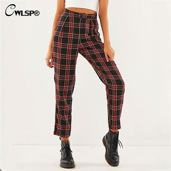 CWLSP Autumn Cotton Straight Ankle-Length Pants with Zipper Casual Loose Plaid Mid Waist Trousers Women pantalon mujer QL4173