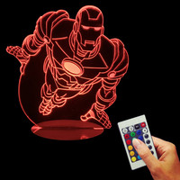 Superhero 3D illusion Lamp LED Night Light Iron Man Acrylic Discoloration Tony Stark Atmosphere Lamp