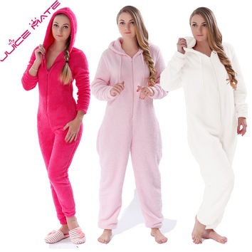JUICE MATE Plus Size Fluffy Fleece Pyjama Onesuit Pink Hot Pink Cream Sleepwear Winter Warm Hooded Pajama Onesuit For Women
