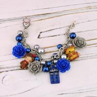 doctor who charm bracelet, dr who bracelet, doctor who jewelry