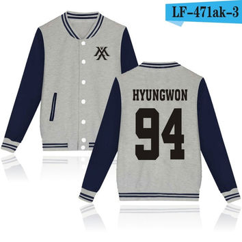 Monsta X Hyungwon Gray Navy Korean Pop Kpop jacket album kpop Baseball Letterman style fashion trendy  SQ12017